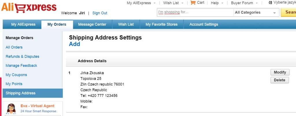 Uložená adresa v profilu