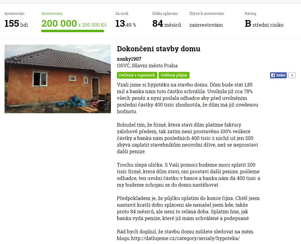 Detail půjčky na Zonky.com